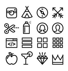 web line icons website navigation flat design ico vector image vector image