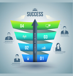 Arrow with step up to success vector