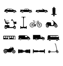 collection of transport icons silhouettes vector image vector image