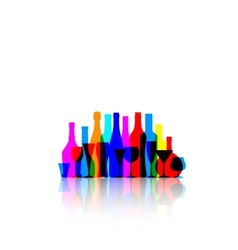 colorful bottles and glasses vector image
