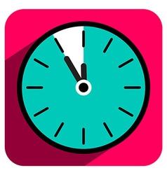 Flat Design Retro Clock Icon with Five to Twelve vector image vector image