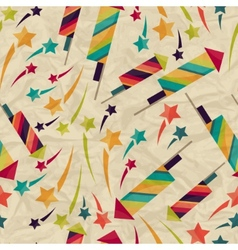Seamless pattern with fireworks on crumpled paper vector image