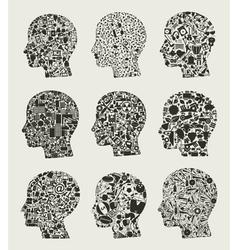 Set a head2 vector image vector image