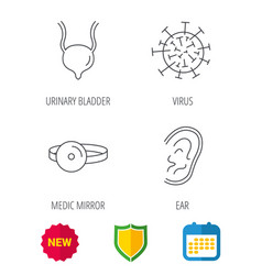 Virus urinary bladder and ear icons vector