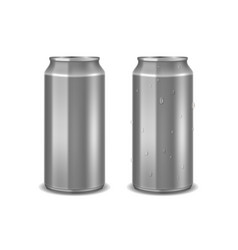 aluminum realistic empty can with water drops for vector image