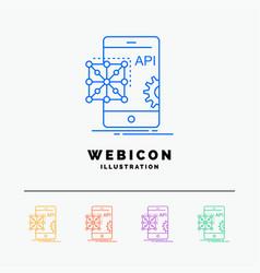 Api application coding development mobile 5 color vector