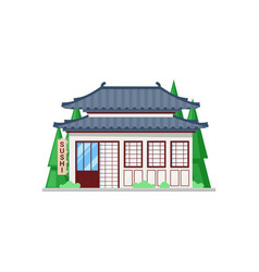 Asian cuisine restaurant isolated sushi bar facade vector