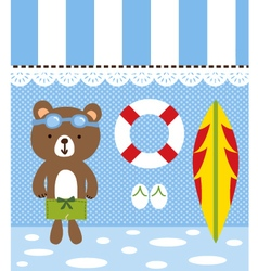 bear vacation in the beach vector image vector image