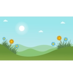 Beauty hill landscape at spring vector