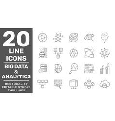 big data and data analysis line icons vector image