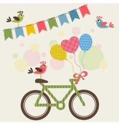 Bike with balloons and birds vector