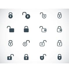 Black lock icons set vector