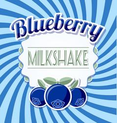 Blueberry milkshake label in retro style vector