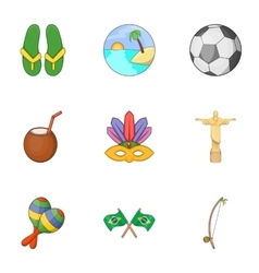 Brazil icons set cartoon style vector