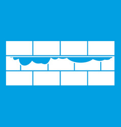 Brick wall icon white vector