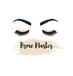 brows and lashes lettering for beauty salon lash vector image