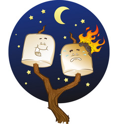 campfire marshmallow cartoon characters vector image