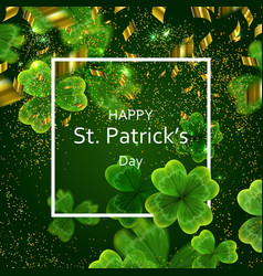 Card on st patrick s day 3d effect clover vector