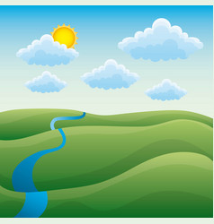 cartoon natural landscape green hills river cloud vector image