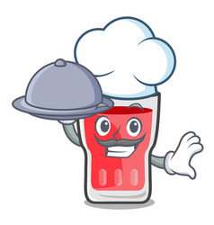 chef with food strawberry mojito mascot cartoon vector image
