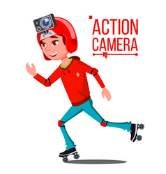 Child girl with action camera teenager vector
