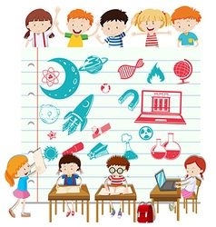 Children doing science at school vector image