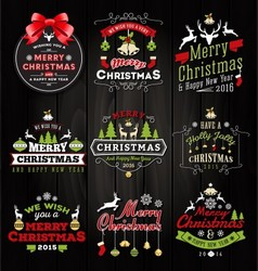 Christmas decoration typography tag and label vector
