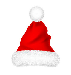 christmas santa claus hat with fur new year vector image