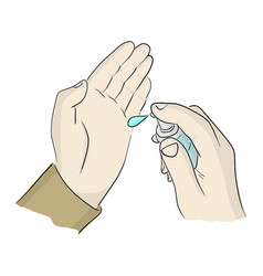 Close-up right hand holding sanitizer gel pump vector