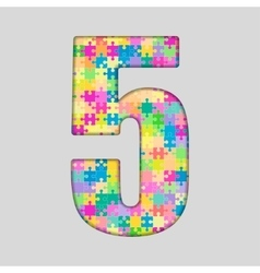 Color Puzzle Number - 5 Five Gigsaw Piece vector
