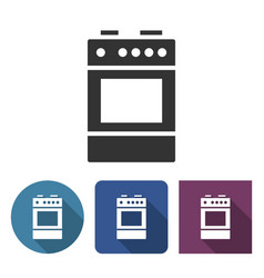cooker icon in different variants with long shadow vector image