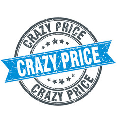 Crazy price round grunge ribbon stamp vector