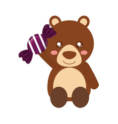cute bear holding sweet candy vector image