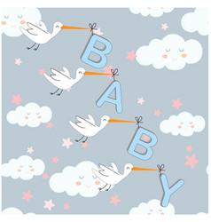 cute cartoon heron bird delivery baby lettering vector image