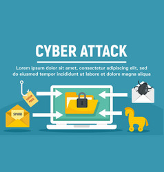 cyber attack concept banner flat style vector image