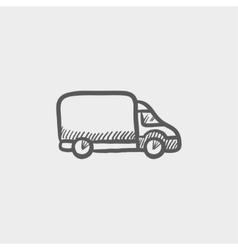 Delivery van sketch icon vector