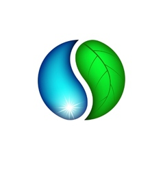 Drop water and leaf plants eco logo vector image