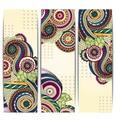 Ethnic Pattern Cards With Paisley Doodles and vector image