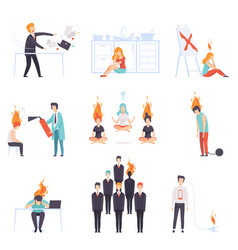 exhausted men and women with burning brains set vector image