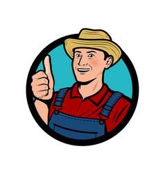 farm agriculture logo happy farmer shows thumbs vector image