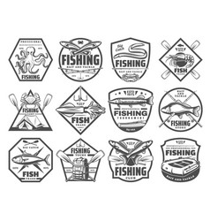 fish and seafood fishing club icons vector image