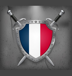 flag of france the shield with national flag two vector image