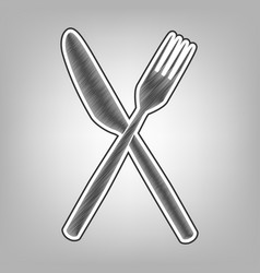 Fork and knife sign pencil sketch vector