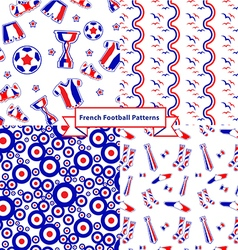 French football set of seamless patterns vector