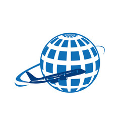 Global earth planet with airplane vector