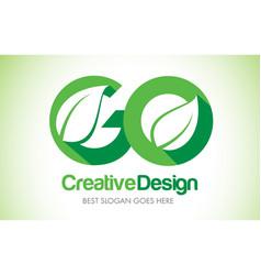 go green leaf letter design logo eco bio leaf vector image