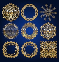 Gold mandala set Blue version vector image