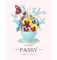 Greeting card with pansies vector