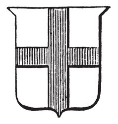 heraldry cross design on shield vintage engraving vector image