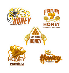 Honey bee premium organic product icons vector